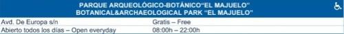 Horarios del Parque Arqueológico y Botánico de El Majuelo