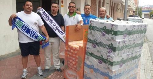 Las peñas futbolísticas entregan a Cáritas 1572 litros de leche y 432 kilos de azúcar