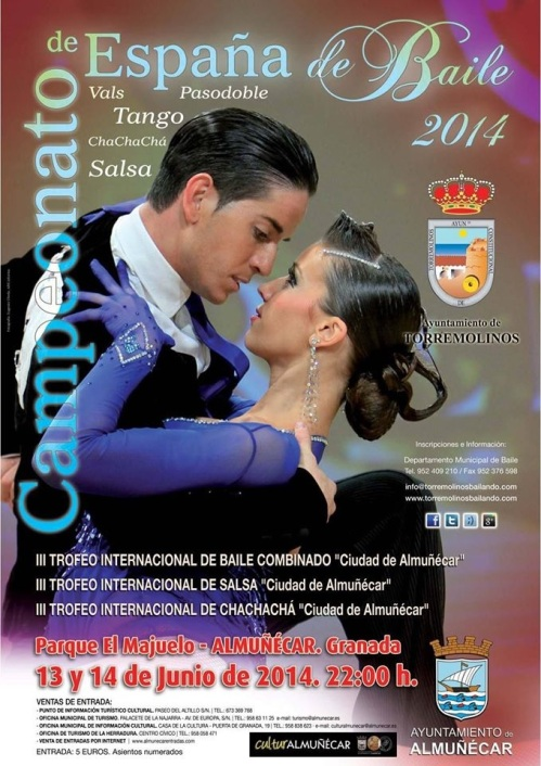 """Cartel del III Trofeo Internacional de Baile combinado, salsa y Chachachá """"Ciudad de Almuñécar"""""""