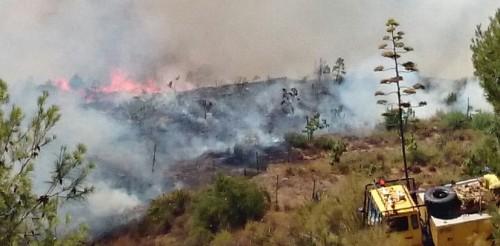 Se declara un incendio en la ladera oeste de Fuentes de Almuñécar