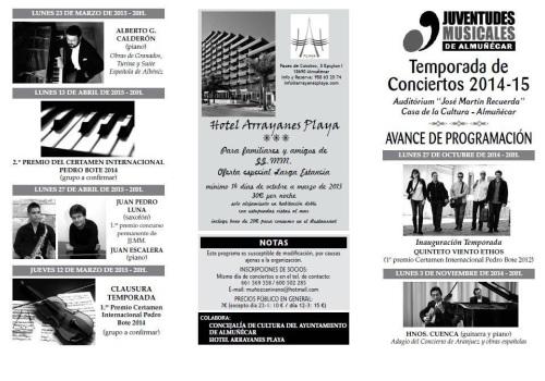Programa 2014/2015 Juventudes Musicales de Almuñécar