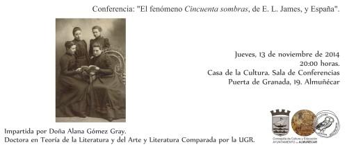 """Alana Gómez Gray dará una conferencia en la Casa de la Cultura de Almuñécar sobre """"El fenómeno 'Cincuenta sombras', de E. L. James, y España"""""""
