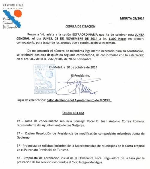 Orden del Día de la Junta General de Mancomunidad del 03.11.2014