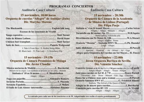Programa del I Encuentro Internacional de Jóvenes Orquestas de Almuñécar