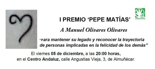 Tarjeta invitación I premio Pepe Matías