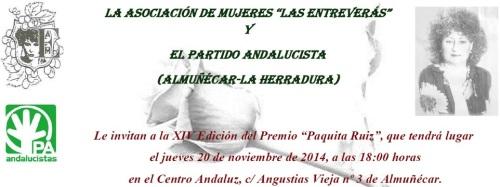 """El 20 de noviembre se entregan los premios """"Paquita Ruiz"""" 2014"""