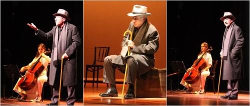"""José Sacristán en tres momentos de su actuación en la obra """"Caminando con Machado"""" puesta en escena en la Casa de la Cultura de Almuñécar"""