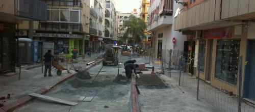 Estado de la obras en la avenida de Andalucía de Almuñécar