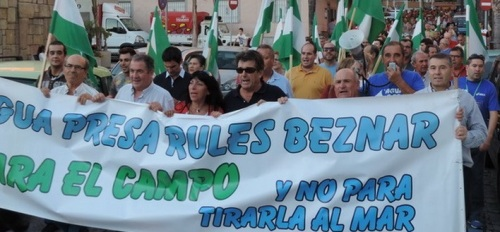 """Manifestación """"Marcha por el Agua"""" que tuvo lugar el pasado 16 de octubre en Almuñécar"""