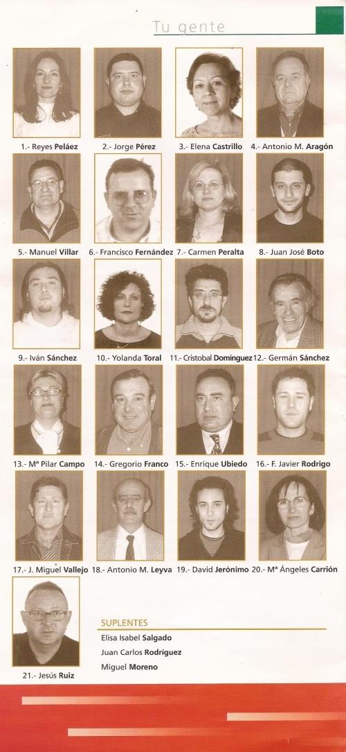 Lista completa candidatura IU Almuñécar 2003