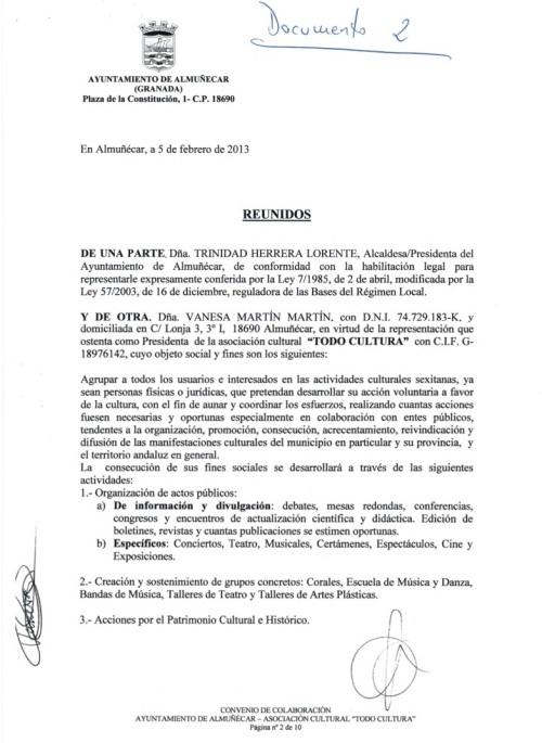 """Documento  nº 2. Convenio entre el ayuntamiento de Almuñécar y """"Todo Cultura"""", firmado por Vanesa Martín Martín y Trinidad Herrera Lorente."""