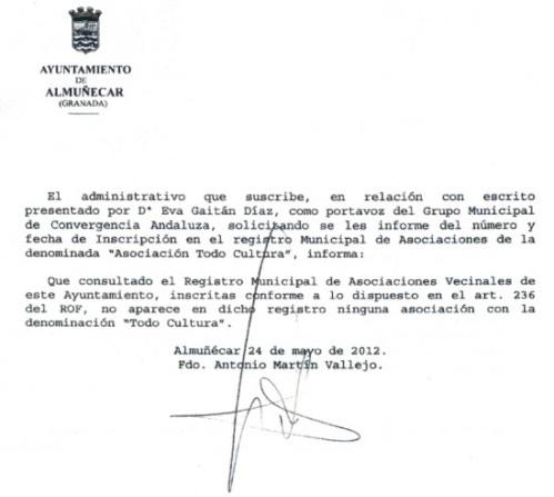 """Documento nº 4. Informe de la secretaría municipal del ayuntamiento de Almuñécar, donde consta la no inscripción de """"Todo Cultura"""" en el Registro Municipal de Asociaciones."""