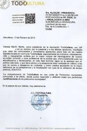 """Escrito presentado por """"Todo Cultura"""" en el Registro del Ayuntamiento de Almuñécar"""
