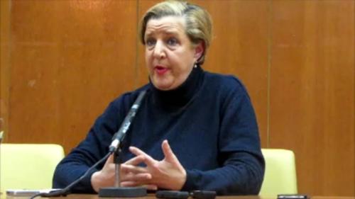 Olga Ruano, durante la rueda de prensa ofrecida en el salón de actos de la Casa de la Cultura de Almuñécar