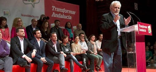 Participación de Julio Anguita en un mitin multitudinario junto a Maíllo y Garzón
