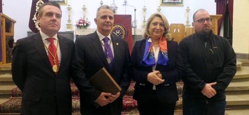 Javier Zarcos, José Gámez, Trinidad Herrera y Vicente Guerrero tras el pregón oficial de Semana Santa