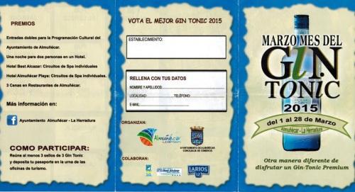"""Credencial para participar en el sorteo de premios y regalos en el """"Mes del GinTonic"""" patrocinado por el Ayuntamiento de Almuñécar"""