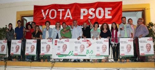 Parte de la candidatura socialista en el inicio de la campaña 2