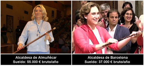 Sueldo alcaldesa Almuñécar vs sueldo alcaldesa Barcelona