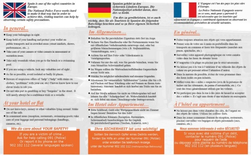 Tríptico Inglés Alemán Francés Plan Turismo Seguro 2015