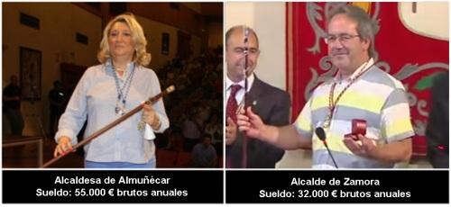 Sueldos alcaldes de Almuñécar y Zamora