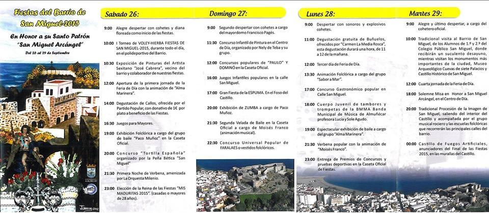 Programa de fiestas del barrio de San Miguel, en Almuñécar