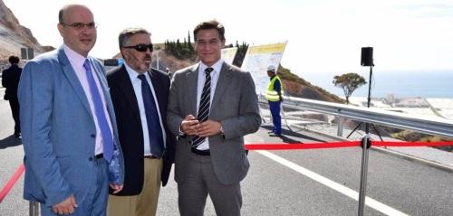 Raúl Fernández, Francisco Rodríguez y Luis Salvador, en la inauguración del último tramo de la A-7