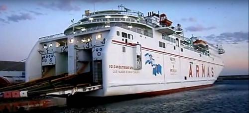 El ferry 'Volcán de Timanfaya' de la naviera ARMAS en el Puerto de Motril