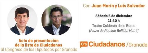 Ciudadanos Granada presenta en Motril su lista al Congreso y al Senado para las próximas Elecciones Generales