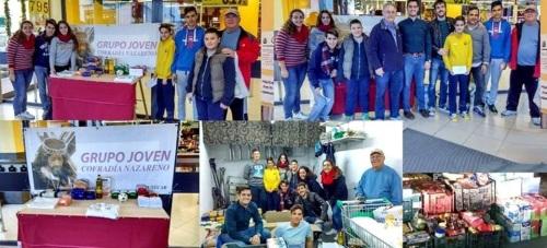 El Grupo Joven del Nazareno recoge una tonelada de alimentos para Cáritas en la 'Operación Kilo'