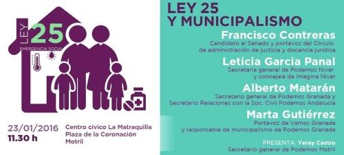 Podemos presentará en Motril la Ley 25 de Emergencia Social