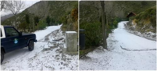 Cae en el complejo rural sexitano de Peña Escrita las primeras nieves del año