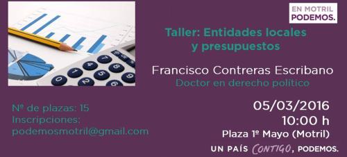 """Podemos Motril organiza el taller """"Entidades locales y presupuestos"""" impartido por Francisco Contreras"""