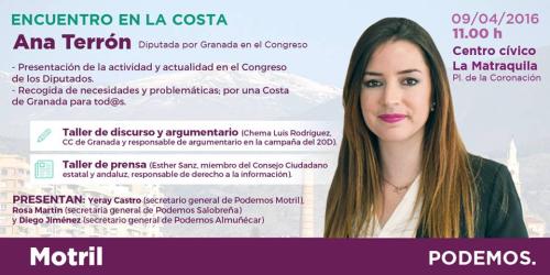 Encuentro con Ana Terrón, diputada de Podemos en el Congreso