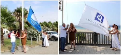 Izada la bandera azul de Playa Granada y las 'Q' de calidad del litoral motrileño