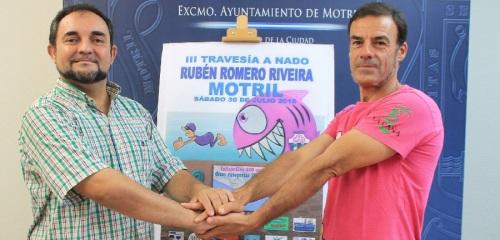 Miguel Ángel Muñoz y Antonio Jiménez Lamiquiz en la presentación de la III Travesía a nado Rubén Romero Riveira 2
