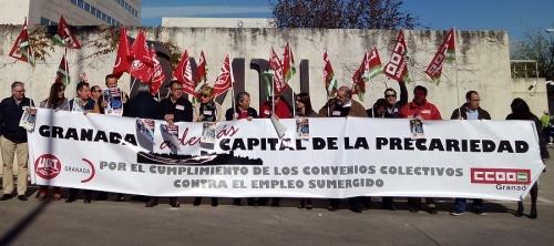 UGT y CCOO se movilizan en Granada por el empleo estable y los salarios dignos