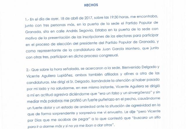 Parte Guardia Civil agresión José Torrente