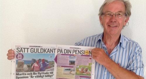 Bosse Essén con el periódico sueco 'Expressen'_