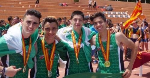 Darío Bruzón Salado oro en 4x100 en el Campeonato de España Escolar