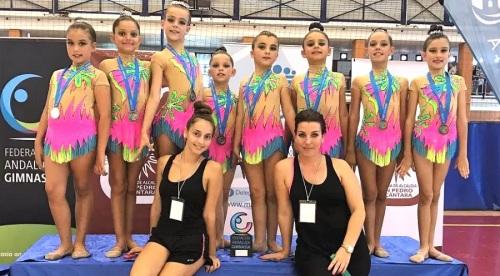 Oro y plata de las gimnastas sexitanas en el Andaluz celebrado en Marbella