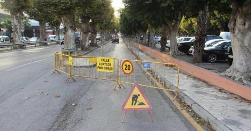 Desde hoy queda cortado por obras el vial de servicio del paseo Blas Infante