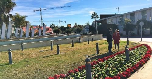 Gloria Chica en la rotonda de entrada a Motril frente a Alcampo donde se han plantado pascueros