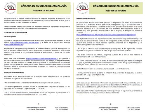 Resumen Informe Cámara de Cuentas de Andalucía sobre Transparencia en Almuñécar