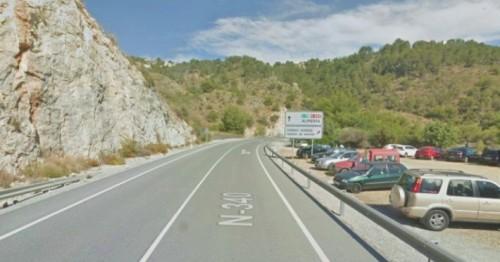 Carretera Nacional 340 a su paso por Cerro Gordo en el término municipal de Almuñécar