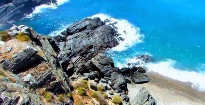 Playa junto a los Peñones del Santo
