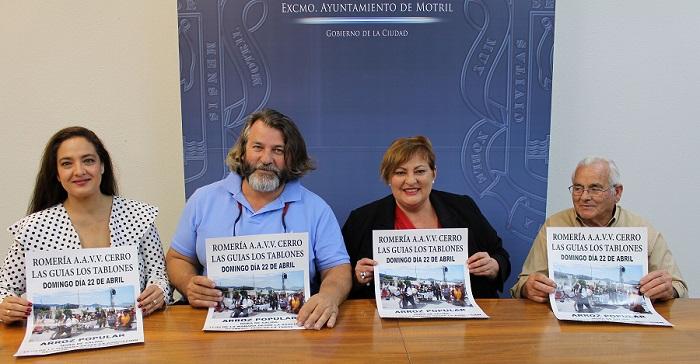 Susana Feixas (cntro) junto a miembros de la Asociación del Cerro de las Guías en la presentación de la XVII Romeria