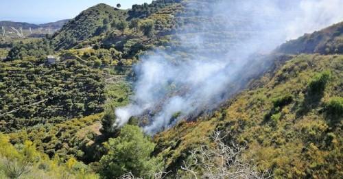 Bomberos de Almuñécar e Infoca sofocaron un incendio de monte bajo en el Barranco de Gelibra (Jete)