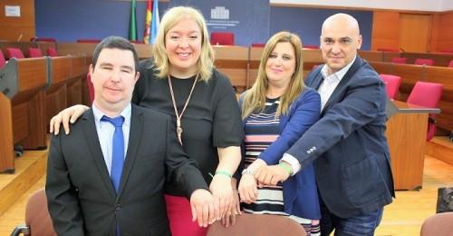 De izquierda a derecha Emilio Sánchez, Flor Almón, María de las Mercedes López y Gregorio Morales en la presentación de la Semana de la ONCE