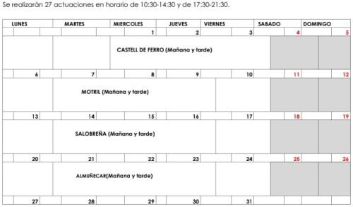 Calendario campaña de la Junta de promoción de los productos de la pesca y la acuicultura en localidades costeras